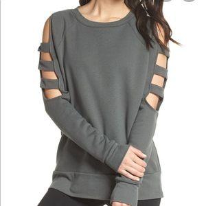 NORDSTROM ZELLA Cut-Out Arm Grey Sweatshirt XL